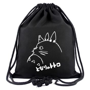 Anime Backpack School Cute Cartoon Totoro Drawstring Bags Canvas Backpack Organizer Pouch for Kids Boys Girls kawaii cute Drawstring Bag Gifts Backpacks AT_60_4