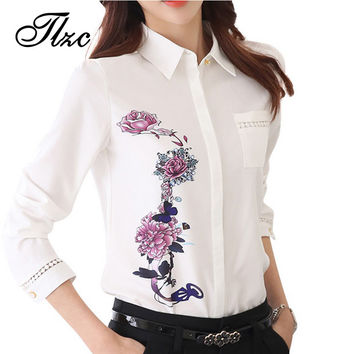 TLZC Vintage 2016 Office Lady Shirts Flower Pattern Fashion Women Blouse Size S-3XL Turn Down Collar Sweet Lady White Shirts