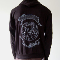 Lunar Hare Zip Up Fleece Hoodie