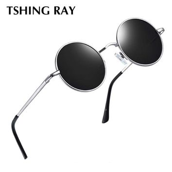 TSHING RAY Vintage Polarized Round Sunglasses Men Women Steampunk Mirror Circle Sun Glasses Glasses For Hip hop Male Female