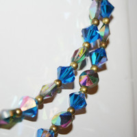 "Beautiful Blue Crystal Double layered Vintage Necklace 15""  free ship US"