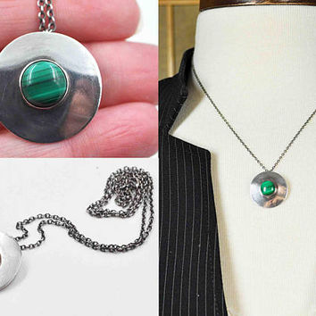 Vintage Sterling Silver Malachite Cabochon Pendant Necklace, Green, Disc, Round, Modernist, Cable Chain, 3D, Minimalist, Nice! #b993