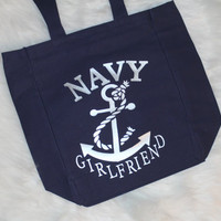 Navy Girlfriend tote. Silver writing