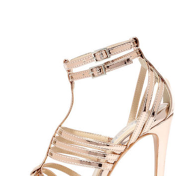 So Divine Rose Gold Caged Heels