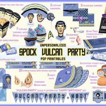 Spock Star Trek Party printables, Vulcan party, Star Trek party, box, candy wrapper, invitation, birthday,kids party,quotes,labels,paper PDF