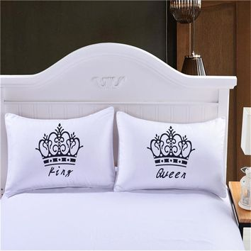 Luxury Crown King Queen White Decorative Pillow Case Cover Couple Gift Couple One Pillows Capa Bedding Set Throw Pillowcases