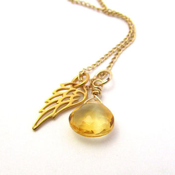 Citrine guardian angel necklace, gold citrine angel pendant, November birthstone necklace, memorial jewelry, citrine jewelry, miscarriage