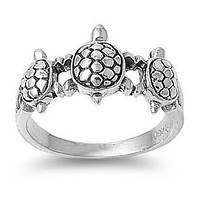 Sterling Silver Antiqued 3 Turtle Ring