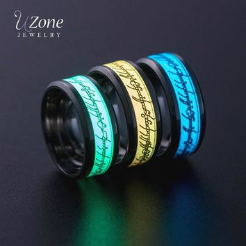 UZone Green Yellow Blue Lord of One Ring Luminous Rings Stainless Steel Glowing in Dark Hobbits Rings For Men Fashion Male Anel