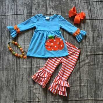 Halloween Fall/Winter long sleeves pants cotton orange stripes ruffle pumpkin print pant baby girls clothing with accessories