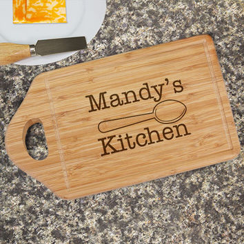 Engraved Kitchen Bamboo Cheese Carving Board