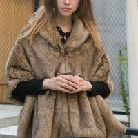 Brown Hooded Faux Fur Cape Coat