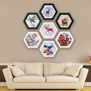 Fashion Hexagon Photo Frame Wedding Picture Frame Wall Mounted Home Family Art Picture Holder Home Decoration Wedding Gift