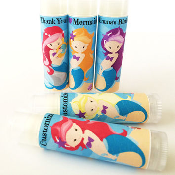 5Pc Mermaid Girl Birthday Party Favors/Mermaid Party/Girl Birthday/Party Favors/Girl Birthday Party/Lip balm/Mermaid Chapstick Party Favor