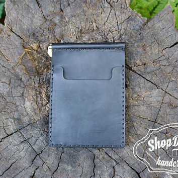 Black Leather Money Clip, Сredit card Holder, Slim Wallet, Leather Wallet, Leather Wallet for Men, Minimalist Wallet, Gift Ideas For Him!