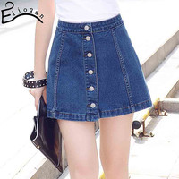 Europe and the United States 2017 new style simple A word bag hip denim skirt v322