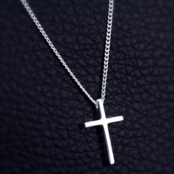 Womens 925 Sterling Silver Cross Pendant Necklace Girls Superior eec6a693ebc3