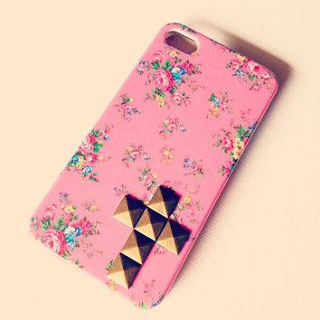 Studded Mini Cross Pink Floral Case Iphone 4 by LivingYoungDesigns