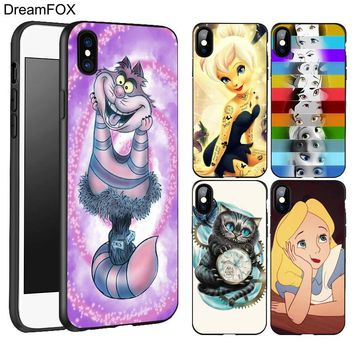 DREAMFOX L102 Alice In Wonderland Punk Black Soft TPU Silicone Case Cover For Apple iPhone XR XS Max X 8 7 6 6S Plus 5 5S 5G SE