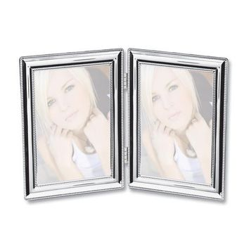Silver-plated Beaded Edge Double Photo Frame - Engravable Personalized Gift Item