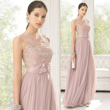 2015 New Arrival Hottest Pink Flower Lace Long Zipper Back Bridesmaid Dress Brides maid Dress Women Gown Free Shipping BD217