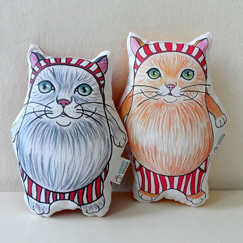 Cat  Plush Pillow Set of Two, cat soft sculpture, nursery decor, plush toy/ gift for cat lovers