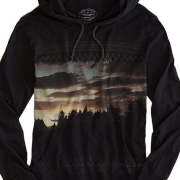 AEO Men's Photo Real Hoodie T-shirt (True Black)