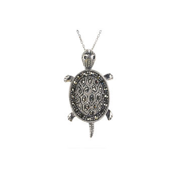 "Turtle Marcasite Necklace 18"" Chain .925 Sterling Silver"