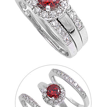 925 Sterling Silver CZ Set of 3 Simulated Garnet Ring 10MM