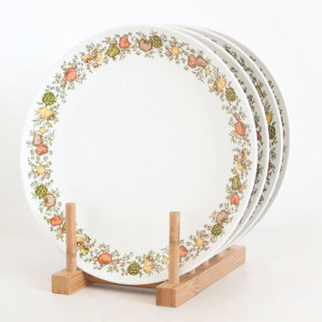 Vintage Corning Centura Spice of Life Luncheon Plates, Centura Dinnerware Vegetable Print, 8 5/8 inch Salad Plates (SET of 4)