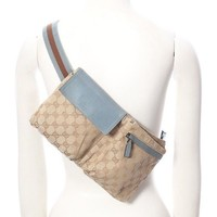 GUCCI GG monogram blue brown web leather flap pouch fannypack belt bag