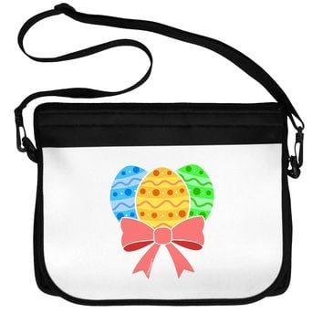 Easter Eggs With Bow Neoprene Laptop Shoulder Bag by TooLoud