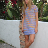 Olivaceous Coral and Sea Blue Print Shift Dress