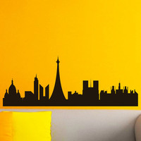 Vinyl Wall Decals Paris Skyline City Silhouette Sticker Home Decor Art Mural Z598