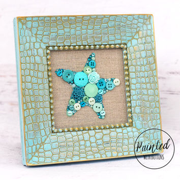 Framed Starfish Button Art, Turquoise Starfish Art, Beach House Decor, Vacation Home Decor, Small Framed Art, Sea Star Art