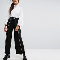 Monki Wide Leg Contrast Sporty Trousers at asos.com