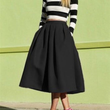 Black Flare Skirt with Pockets Midi Length