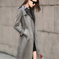 Gray Lapel Pocket Trench Coat