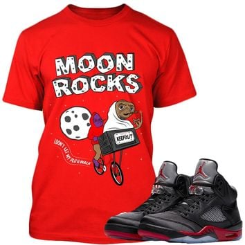 Jordan Retro 5 Satin Sneaker Tees Shirt to Match - MOONROCKS PG