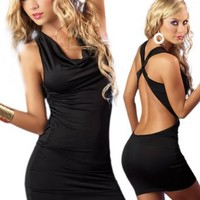 Simple Black Dress - Sexy Curve Hugging Halter Style
