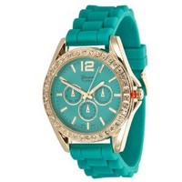 Geneva Platinum 7846 Women's Decorative Chronograph Rhinestone-accented Silicone Watch-TEAL/GLD: Watches: Amazon.com