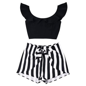 ZAFUL Women Two Pieces Set Ruffled Cropped Tops Zipper High Waisted Striped Shorts Suits Causal Summer Beach Female Sets XL