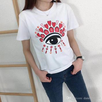 New Summer Fashion PINK printing Tee Big Eyes Sequin T Shirt Women Cotton High Quality Tears T-Shirt Casual Women Tops