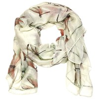 Dragonfly Rectangle Scarf in Cream