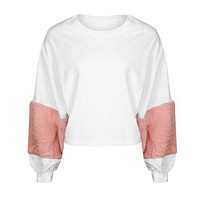 Fashion Hoodie Women Casual Plush Long Sleeve Shirts Patchwork Loose Hoodie Velvet Pullover Sweats Tops