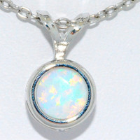 1 Carat Opal Round Bezel Pendant .925 Sterling Silver Rhodium Finish White Gold Quality