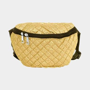 Glittered Square Stitch Detail Fanny Pack (Click For More Colors)