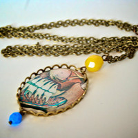 Dental Anatomical Necklace with Blue and Yellow Beads