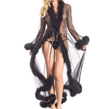 Be Wicked BW1650BK Marabou Glamour Robe