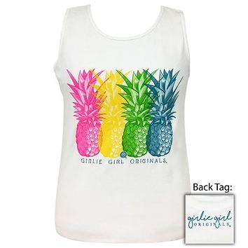 Girlie Girl Originals Preppy Vivid Pineapples White Comfort Color Tank Top T-Shirt